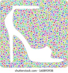 Decorative mosaic of an Elegant Women Shoe into a square sign  Mosaic of harlequin circles. A number of 5235 little bubbles are accurately inserted into the mosaic. White background.