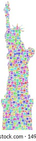 Decorative mosaic of the Statue of Liberty - New York - in a mesh of harlequin little squares. A number of 2576 little squares are accurately inserted into the mosaic. White background.