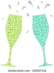 Decorative mosaic of two flutes for a cheers. A number of 1988 little bubbles are accurately inserted into the mosaic. White background.