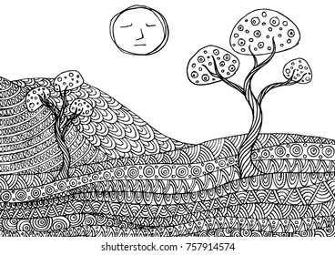 Decorative mountain landscape. Zentangle ornamental pattern for greeting cards, coloring books,print.