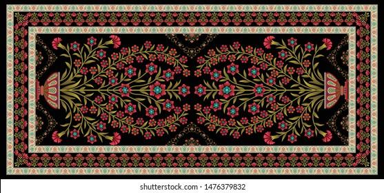 decorative mughal motif   stole black  background design