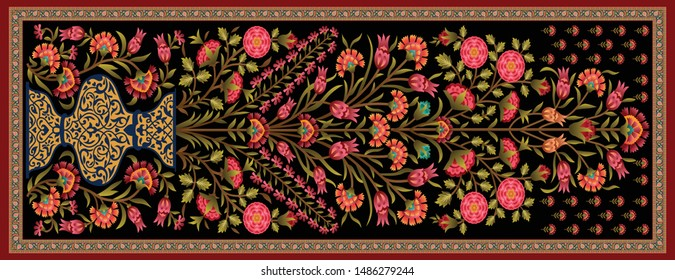 decorative mughal motif   stole dupatta black background design