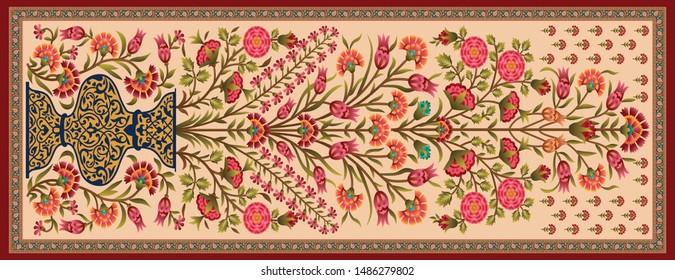decorative mughal motif  stole dupatta cream background design