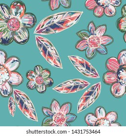 Decorative multicolor flowers seamless pattern rose pink, blue, purple and beige on a teal background. Variegated colors and line accents add a batik or linocut effect. Great for home decor, fashion.