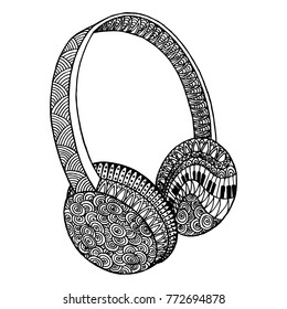 Decorative music headphones. Vector ornamental template for greeting cards, coloring books, print on textile, t-shirts, clothing. Template for coloring pages for adults, antistress, art therapy.