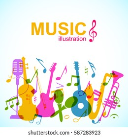 Decorative musical abstract background with colorful music instruments stage microphone and notes silhouettes vector illustration