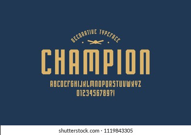 Decorative narrow sans serif font in sport style. Letters and numbers for logo and emblem design. Yellow print on blue background