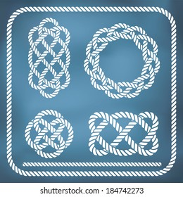 Decorative nautical rope knots. Gradient mesh