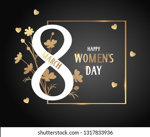 Decorative number 8 with spring flowers on black background. 8 march card. Happy Womens day. Vector illustration