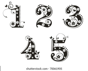 Decorative number with flowers for design