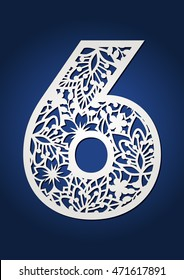 Decorative number six with flowers and leaves. Botanical patterned digit 6. Laser cut digit for decoration and paper cutting. Beautiful paper numbers for wedding invitations and birthday cards.
