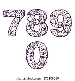 Decorative numerals with natural pattern. Flowery digits, calligraphic numbers isolated.