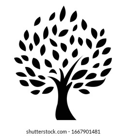 Decorative olive tree with berries icon isolated on white background. Vector illustration.