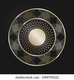 Decorative openwork round frame with gold abstract pattern on black background. Circular ornament. An elegant element for design. Vector.