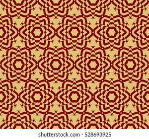 Decorative ornament. Abstract vector illustration. Seamless floral pattern. Gold on red