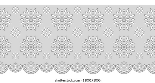 Decorative ornament for border of fabric. Stylized texture of embroidery, imitation satin stitch. Vector pattern for printing on fabric, clothes, hem of dress, cuff, collar.