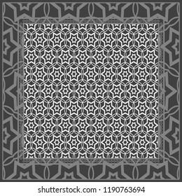 Decorative ornament with geometric decoration. symmetric pattern . For print Bandanna, shawl, tablecloth, fabric fashion, scarf, design