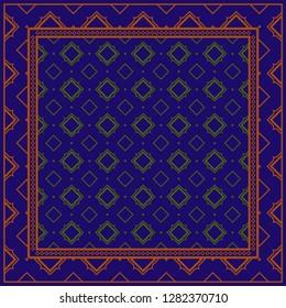 Decorative Ornament With Geometric Decoration. Symmetric Pattern . For Print Bandanna, Shawl, Tablecloth, Fabric Fashion, Scarf, Design. Dark blue, brown color