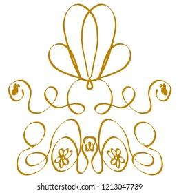 Decorative ornament with golden curly lines. Elegant frames, flourishes with flowers for fabric, textile, patterns, prints, decor, decoupage, invitation cards. Art nouveau, modern. Vintage frames.