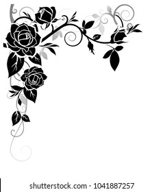 Decorative ornament with rose and leaves silhouette on the corner of page. Vector black floral pattern on white background.