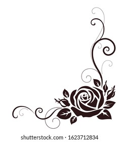 Decorative ornament with rose. Vector illustration