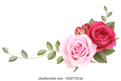 Decorative ornament with vintage roses on the corner of page. Floral background. Vector illustration. Realistic pink flowers isolated on white