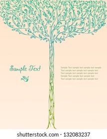 Decorative ornamental background with image of fantasy blooming spring tree and place for your text. Template for design greeting cards, covers, books, brochures