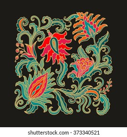 Decorative ornamental floral composition on dark background, oriental style