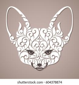 Decorative ornamental fox. Vector abstract Fennec fox head illustration, tattoo, design element