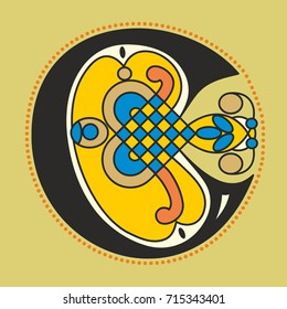 Decorative ornamental initial letter C in Celtic style in geometrical form like an illustration in antique medieval illuminated manuscript