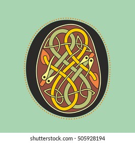 Decorative ornamental initial letter O in Celtic style in form of serpentine knot like an illustration in antique medieval illuminated manuscript