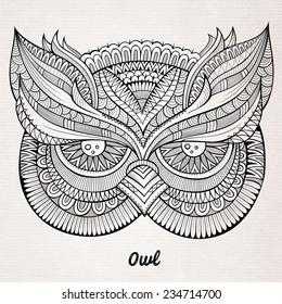 Decorative ornamental Owl head. Vector illustration
