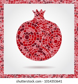 Decorative ornamental pomegranate made of mosaic texture. Vector illustration of fruit logo. Crazy colors abstract hand drawn vector pattern. Boho fashion style for prints