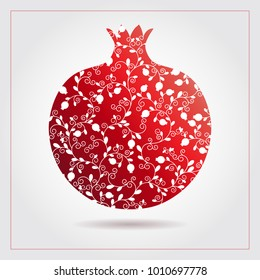 Decorative ornamental pomegranate made of swirl doodles for Rosh Hashanah greeting card, Jewish New Year. Rosh hashana, sukkot Jewish Holiday. Vector illustration of fruit logo