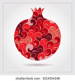 Decorative ornamental pomegranate made of swirl doodles. Vector abstract illustration of fruit logo for branding, poster or packaging design