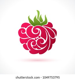Decorative ornamental raspberry isolated on white. Vector abstract logo design element for packaging design, banner, poster, business sign, identity, branding