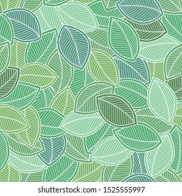 Decorative ornamental seamless doodle pattern. Endless elegant texture with leaves. Tempate for design fabric, backgrounds, wrapping paper, package, covers