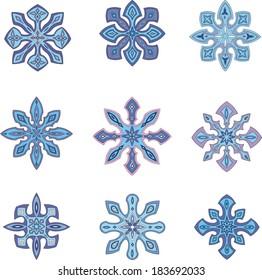 Decorative ornamental snowflakes. Set of color vector illustrations.