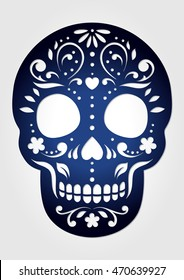 Decorative ornamental sugar skull for laser cutting. Paper Calavera Halloween decoration. Fancy skeleton head silhouette for the Day of the death.
