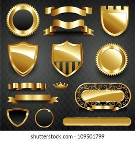 Decorative ornate gold frame collection set