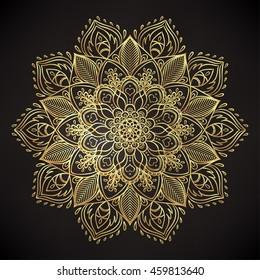 Decorative ornate round mandala. Vintage vector pattern. Invitation, wedding card, scrapbooking. Golden stickers, flash temporary tattoo, mehndi and yoga design, boho, magic symbol. Gold over black.
