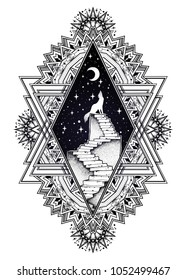 Decorative ornate vintage frame with abandoned ruin stairway to the night, with a wolf howling at moon sky. Symbol of imagination, lonelyness, dreams. Surreal tattoo. Isolated vector illustration.