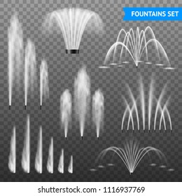 Decorative outdoor water fountains jet set of 7 various shapes size range against transparent background vector illustration