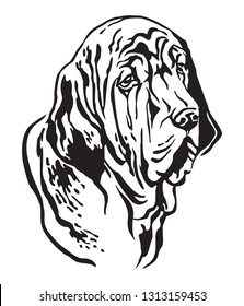 Decorative outline portrait of Fila Brasileiro Dog looking in profile, vector illustration in black color isolated on white background. Image for design and tattoo.