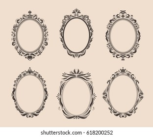 Decorative oval vintage frames and borders set. Victorian and baroque style design. Elegant royal-style frame shapes with swirls for labels,tags and invitations. Vector illustration.