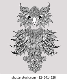 Decorative owl. Adult antistress coloring page. Black and white hand drawn illustration for coloring book