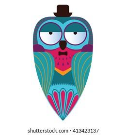 Decorative owl in a bowler hat. Vector illustration.
