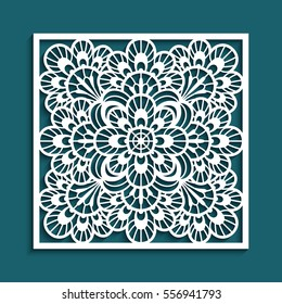 Decorative panel with lace pattern, elegant square ornament for laser cutting or wood carving, cutout paper decorative element, elegant vector background for wedding invitation card, eps10