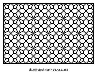 Decorative panel for laser cutting. Oriental geometric pattern. Vector ornament.