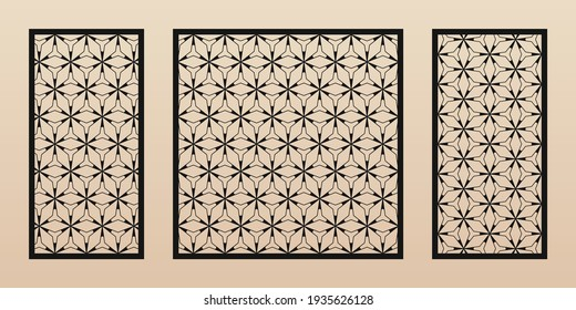 Decorative panels for laser cutting. Cutout silhouette with abstract geometric pattern, thin lines, triangles, grid, hexagonal mesh. Laser cut stencil for wood, metal, plastic. Aspect ratio 1:2, 1:1